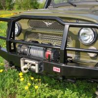 Бампер передний РИФ УАЗ Hunter универсальный с пилонным кенгурином (469-10600)
